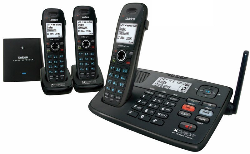 Image of UNIDEN XDECT 8055+2 CORDLESS PHONE SYSTEM 3 HANDSETS