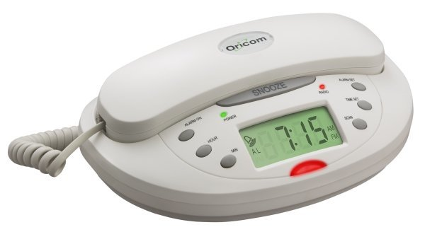 Image of ORICOM CLOCK RADIO WHITE TELEPHONE TCR10