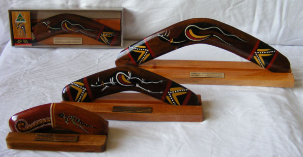 """Image of Boxed Boomerang - Classic Traditional Hand-Painted 10"""" with Display Stand"""