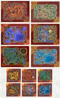Tableware Set (12 piece) : Coasters/Placemats with Aboriginal Theme with 'Hunters & Gatherers' designs