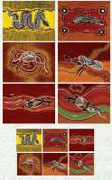 Tableware Set (12 piece) : Coasters/Placemats with Aboriginal Theme with 'Outback Wanderers' designs