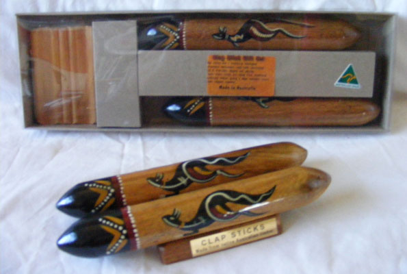 Image of Clap Sticks - Boxed Set of 2 Traditional Handpainted Music Sticks with Display Stand
