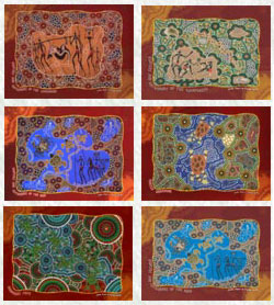 """Image of Placemat Set (6 piece) : Aboriginal Theme with """"Hunters & Gatherers"""" designs"""