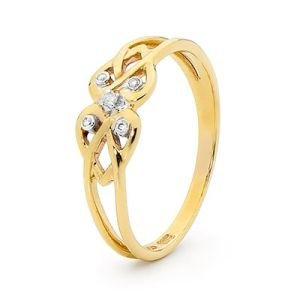 Image of Diamond Gold Ring - Hearts Knot (25482)