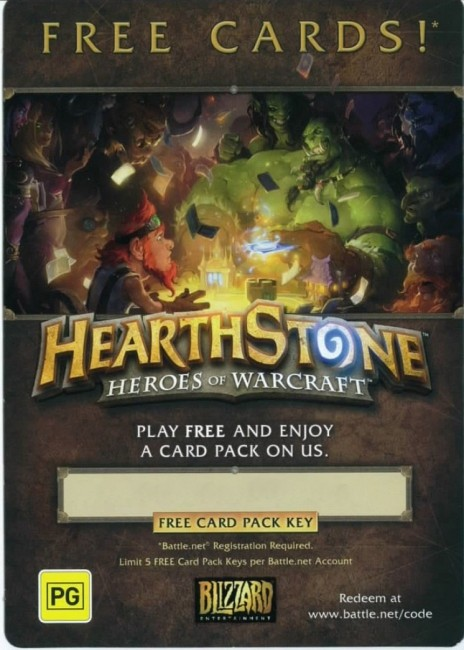 Blizzard Hearthstone Code Free Card Pack Key PC Game