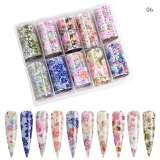 Intricate & Bold Floral Nail Art Transfer Foil Set (10 Designs Per Box)