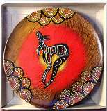 Plate : Boxed, Timber, Hand Painted Aboriginal Art, incl. Display Stand