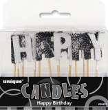 Glitz Black & Silver Happy Birthday Candles Pk 1