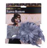 1920s Flapper Grey Lace Headband with Flower and diamantes Pk 1