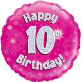 Happy 10th Birthday Pink Holographic 18in. Foil Balloon Pk 1