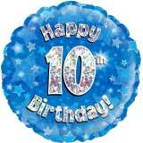 Happy 10th Birthday Blue Holographic 18in. Foil Balloon Pk 1