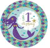Mermaid Wishes 1st Birthday 7in Paper Plates Pk 8